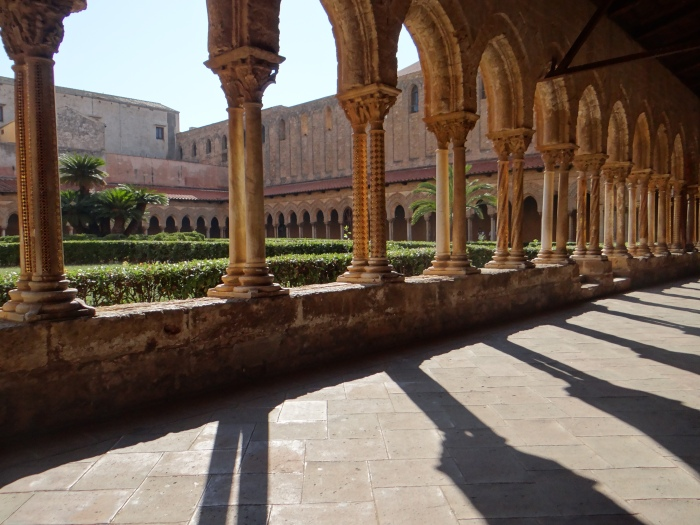 The gold mosaic-decorated courtyard of Monreale
