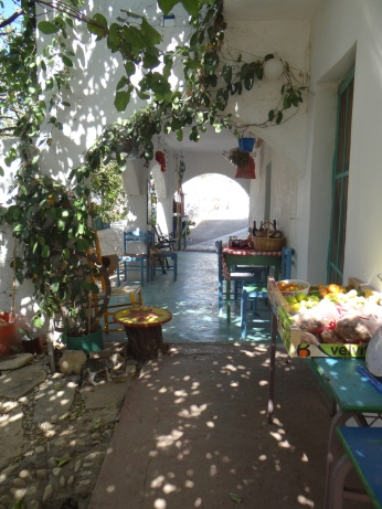 The store front/porch/dinner table on the farm in Greece.